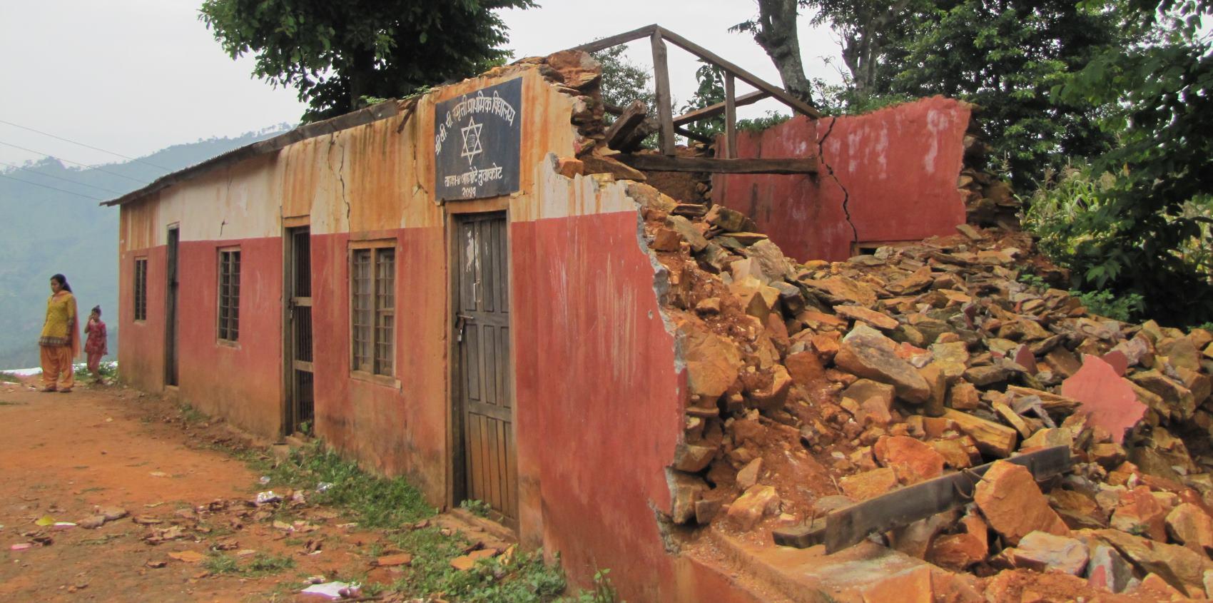 Zerstörte Schule in Taruka